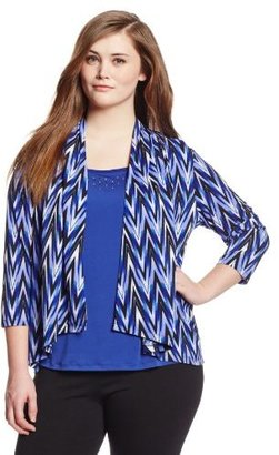Sag Harbor Women's Plus-Size Printed Knit Duet Top