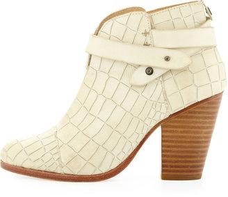 Rag and Bone Rag & Bone Harrow Crocodile-Embossed Ankle Boot, White