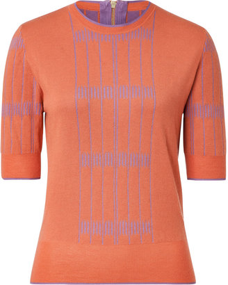Sophie Theallet Tangerine/Lilac Cashmere Knit Top