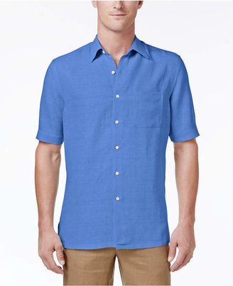 Tasso Elba Men's Silk and Linen Blend Crosshatch Short-Sleeve Shirt with Pocket, Created for Macy's $55 thestylecure.com