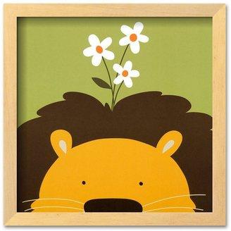 "Art.com Peek-a-Boo IX, Lion"" Brown Framed Art Print by Yuko Lau"