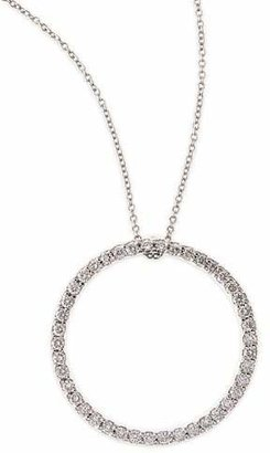Roberto Coin 18k White Large Diamond Circle Pendant Necklace