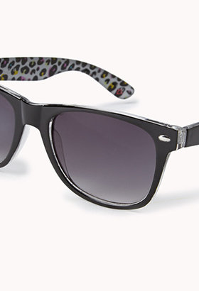 Forever 21 F9607 Leopard-Lined Wayfarer Sunglasses