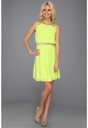 Jessica Simpson Pleated Dress (Citronelle) - Apparel