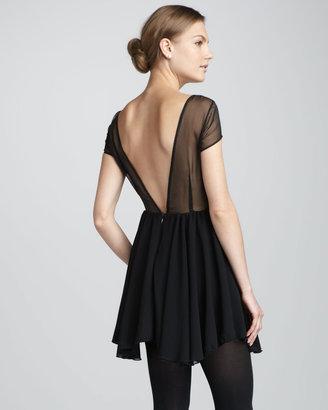 Keepsake After Dark Sheer-Top Dress