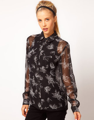Asos Shirt With Pressed Flower Print