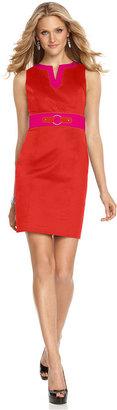 Amy Byer Petite Dress, Sleeveless Split Neck Colorblock Sheath