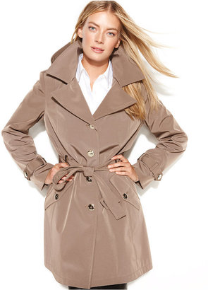 Calvin Klein Petite Coat, Hooded Belted Trench