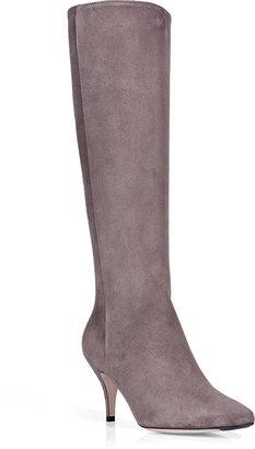 Salvatore Ferragamo Mink Suede Kitten Heel Boots