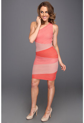 BCBGMAXAZRIA Kira One Shoulder Colorblock Dress