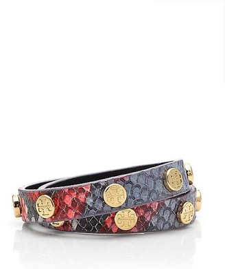 Tory Burch Snake Embossed Double Wrap Logo Stud Bracelet