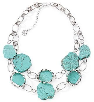 JCPenney east 5th Semi-Precious Turquoise Nugget Row Neckla