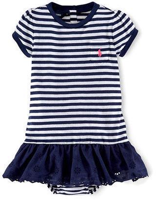 Ralph Lauren Baby Girls Striped Cotton Jersey Dress