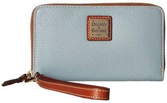Dooney & Bourke Pebble Leather New SLGS Zip Around Credit Card Phone Wristlet $118 thestylecure.com