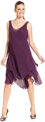 SL Fashions Petite Dress and Jacket, Sleeveless Handkerchief V-Neck