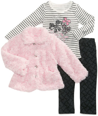 Nannette Kids Set, Little Girls 3-Piece Faux-Fur Jacket, Shirt and Pants