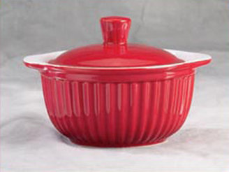 Reco Red Covered Soup Bowls