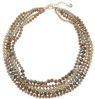 LOFT Short Bronze Rondelle Multi Strand Necklace