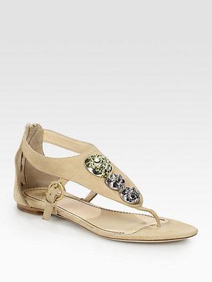 Jerome C. Rousseau Sumo Stone-Encrusted Suede Sandals