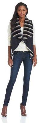 Sam Edelman Women's Clara Dip Dye Fur and Suede Vest