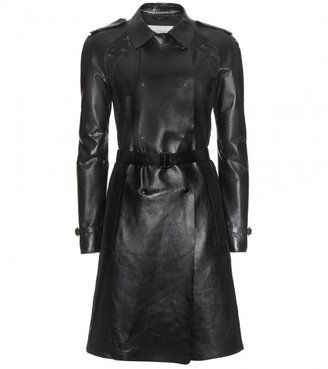 Valentino LACE-TRIMMED LEATHER TRENCH COAT