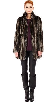 Warehouse Stripe Faux Fur Coat.