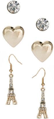 Lipsy Paris Heart Trio Stud Earring Set