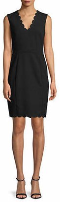 French Connection Sleeveless Scallop Sheath Dress