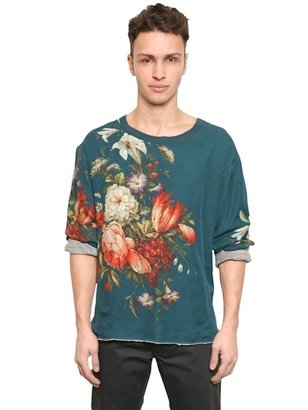 Dolce & Gabbana Floral Silk And Wool Jersey T-Shirt