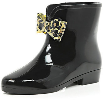 River Island Womens Black bow trim ankle boot rubber boots