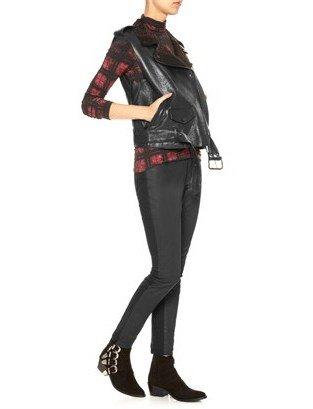 Edun Black Leather Motorcycle Vest