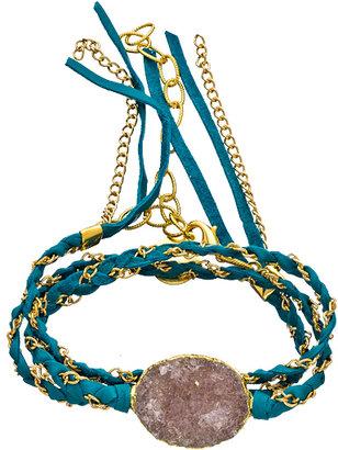 Nina Nguyen Cordelia Turquoise and Gold Leather Wrap Bracelet