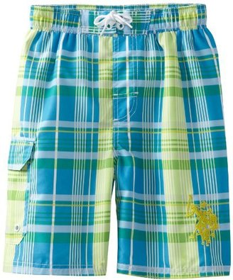 U.S. Polo Assn. U.S. Polo Association Boys 8-20 Plaid Swim Trunk