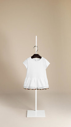 Burberry Frill Detail Cotton T-Shirt