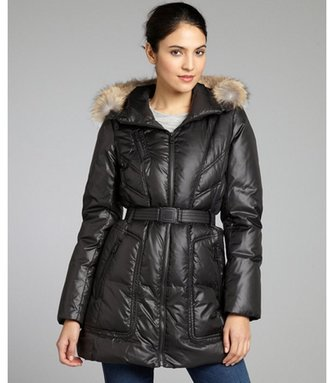 Andrew Marc New York black quilted down filled 'Demi' belted coat with fur trim hood