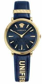 Versace V-Circle Unified Stainless Steel Leather-Strap Watch