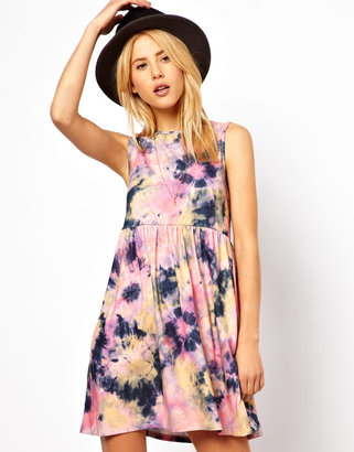 Asos Smock Dress In Tie Dye Print.