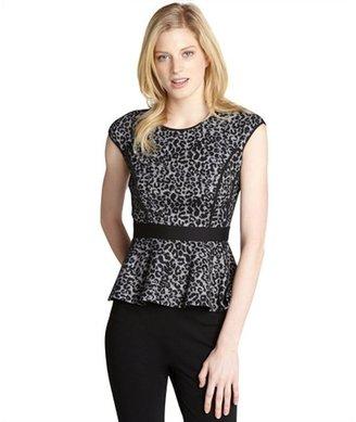 Rebecca Taylor black leopard knit peplum top