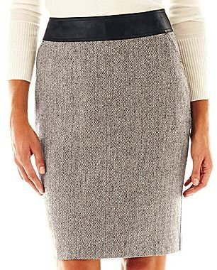 JCPenney Worthington Faux Leather-Trim Skirt