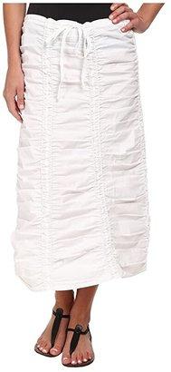 XCVI Stretch Poplin Double Shirred Panel Skirt (Black) Women's Skirt