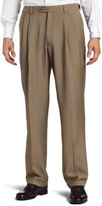 Haggar Men's Eclo Stria Expandable-Waist Pleat-Front Dress Pant Med Grey Stria 34x29