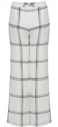 Topshop **Silk Wide Check Trousers by Unique