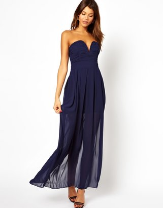 TFNC Maxi Dress With Plunge Bustier - Navy
