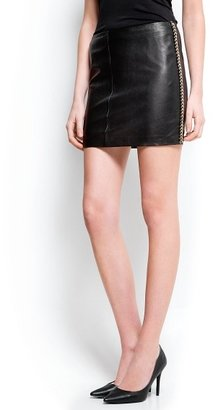 MANGO Chain trimmed leather skirt