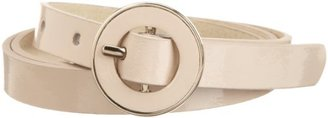 Nine West Women's 5/8 Inch Patent Panel Belt with Inlayed Center Bar