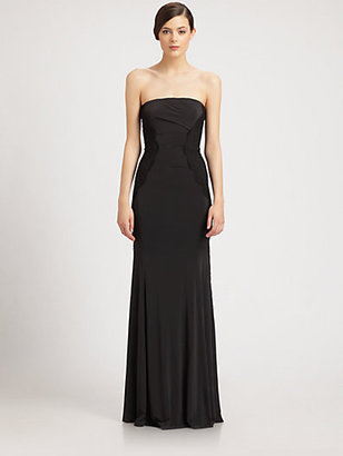 Donna Karan Lace-Paneled Strapless Gown