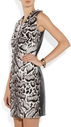 Christopher Kane Animal-print goat and leather dress