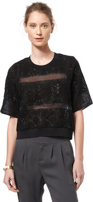 Rebecca Taylor Short Sleeved Patch Lace Top