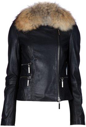 Hotel Particulier fur collar biker jacket