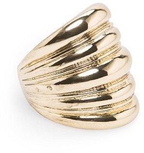 MANGO Striped embossed ring